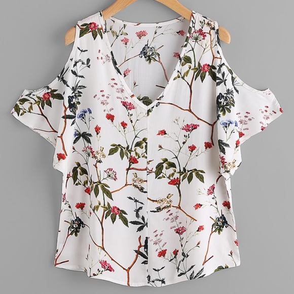 d7cb9fcd04 SHEIN Tops | Open Shoulder Floral Blouse | Poshmark